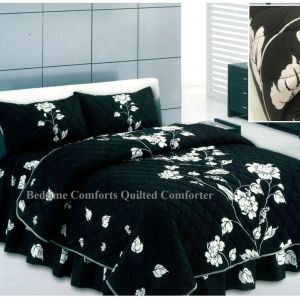 """Black Floral Design """"QUILTED"""" Bedspread Comforter & Pillowcase/s CHARISMA"""