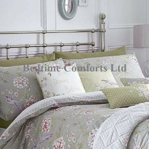 Grey, Lilac, Pink Floral/Bird Duvet Cover + Pillow Case JAZE