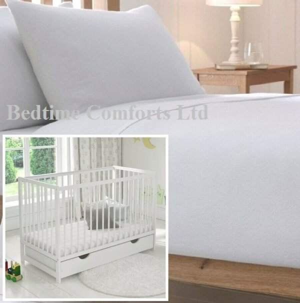 "Cot Bed / Travel Cot Luxury Soft Flannelette Flat Sheet 55"" X 71"" WHITE"