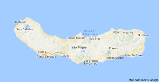 map of Sao Miguel to help with the Azores Itinerary