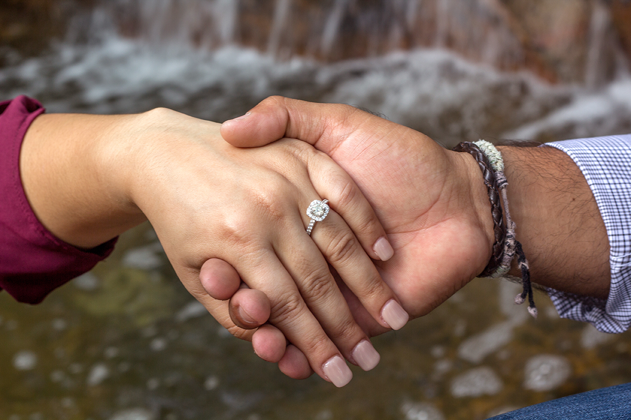 engagement ring water fall photo