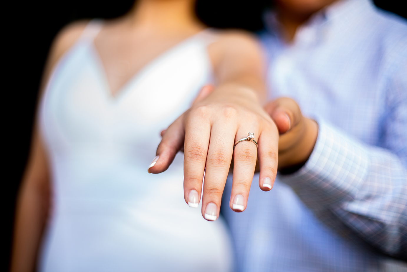 manicure nails and engagement ring