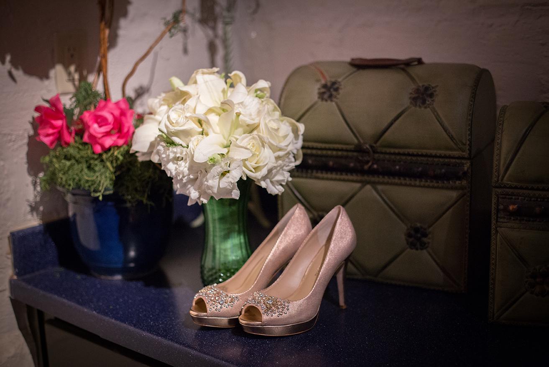 bride shoes and bridal bouquet