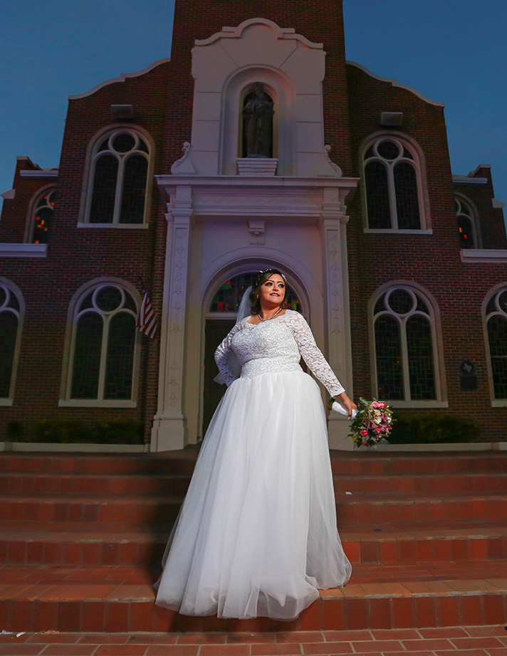 bridal portrait at Our Lady of Guadalupe Mission texas