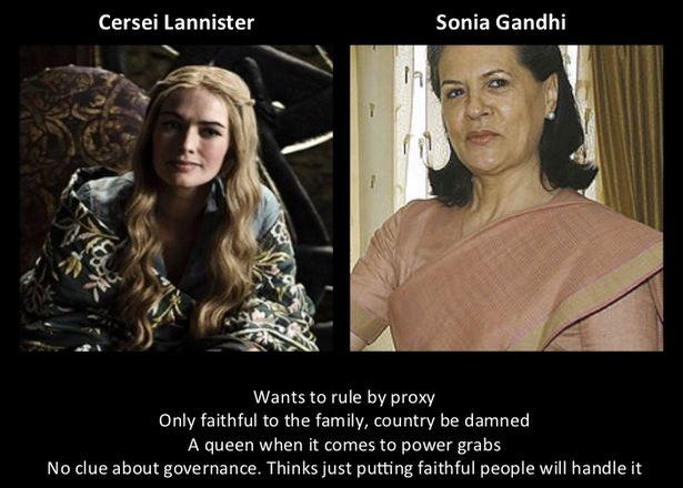 Sonia Gandhi as Cersei Lannister