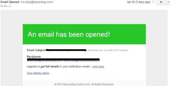 captura de pantalla de notificación de bananatag emial
