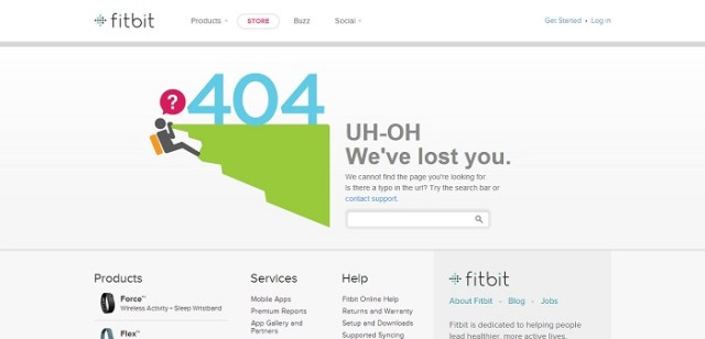 fitbit 404 page