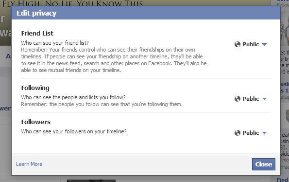 Configuración de privacidad de amigos, seguidores y seguidores de Facebook