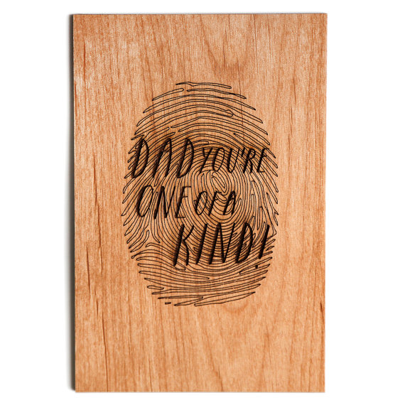 Father's Day Card, One of A Kind Wood Card