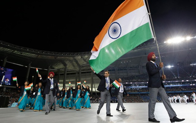 Sardara Singh Leading The Indian Contingent at the Opening Ceremony
