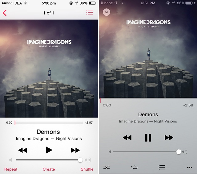 Music ios 8 vs ios9