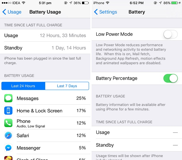 Battery Settings iOS9