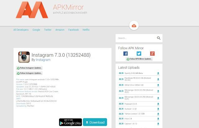 Скачать приложение с APKMirror