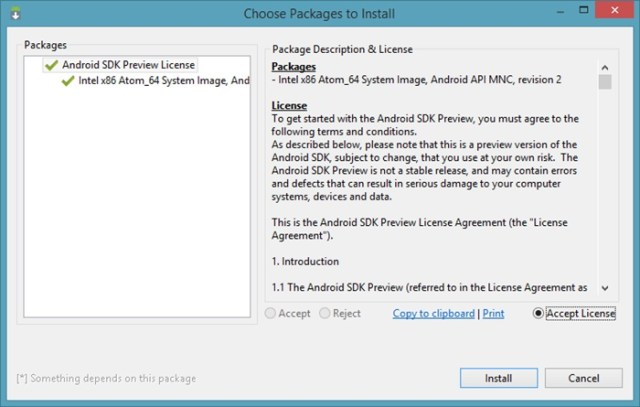 Install Packages using Android SDK