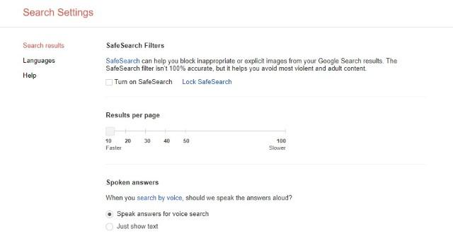 Настройки поиска Google