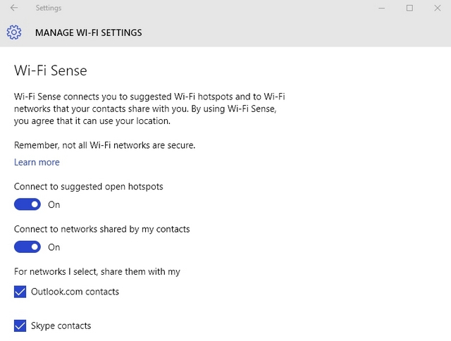 Windows 10 WiFi Sense