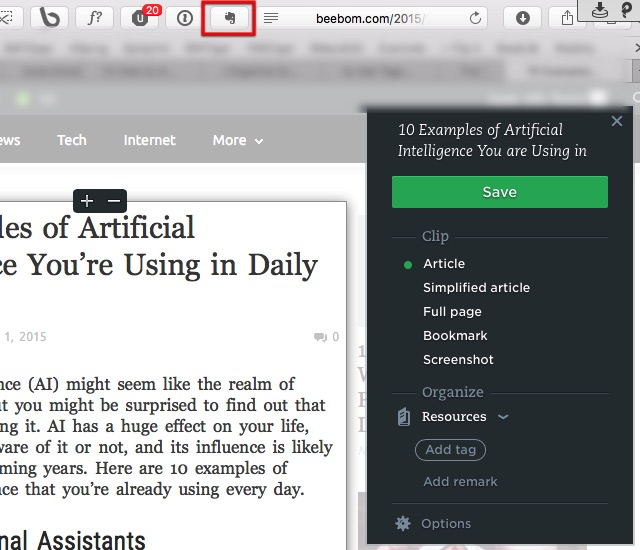 Evernote 2a - Web Clipper - Article