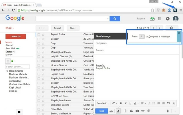 KeyRocket Gmail Chrome Extension