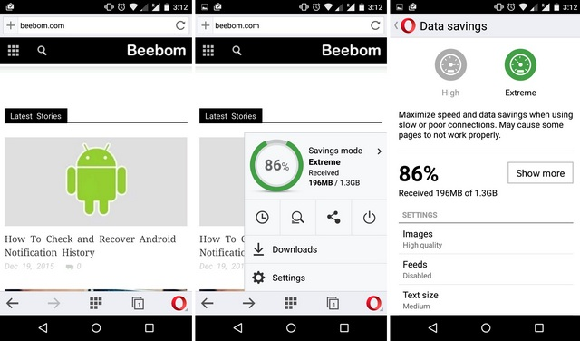 Opera Mini Android Data Saving