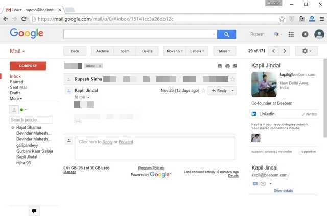 Rapportive Gmail Chrome Extension