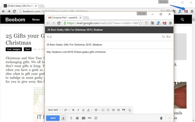 Send from Gmail extension