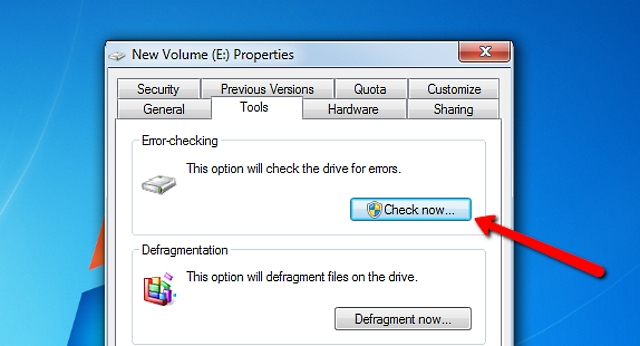 checkdisk via windows explorer