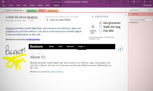onenote creating notes