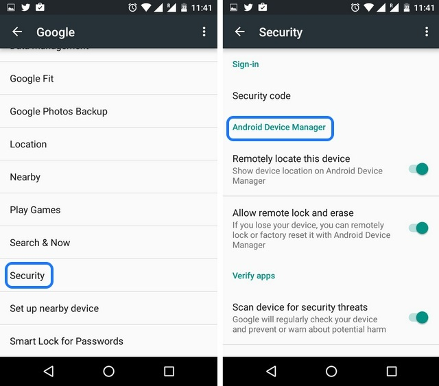 Android security tips enabled Device Manager