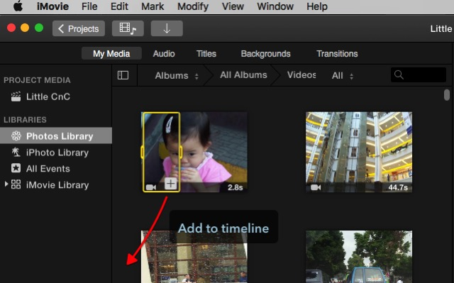 iMovie - Add to timeline