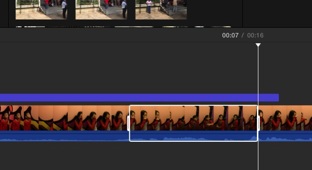 iMovie - portion of clip