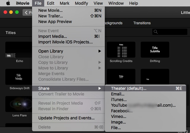 iMovie - share menu