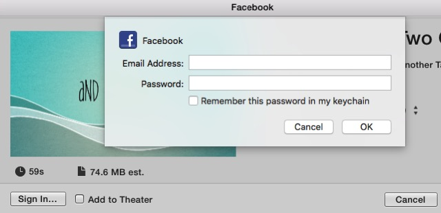 iMovie - upload to Facebook