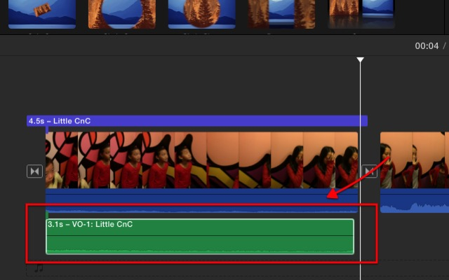 iMovie - voice over layer