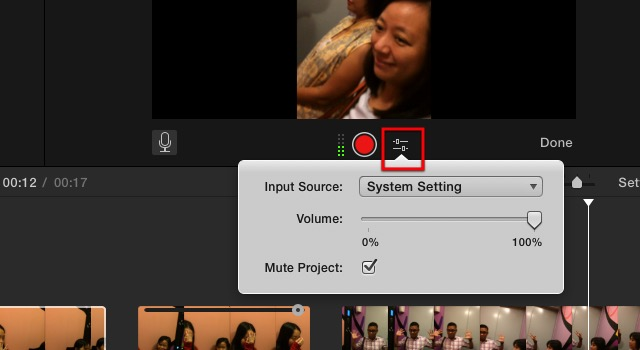 iMovie - voice over settings