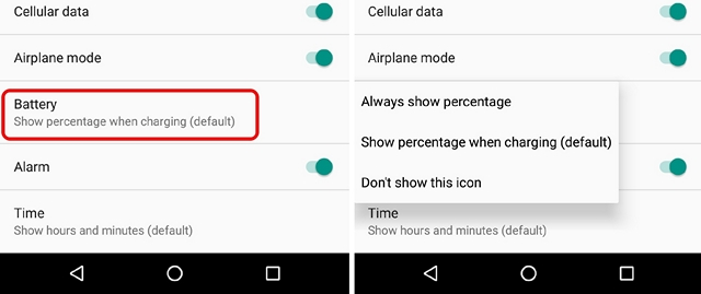 Android N Show Battery Percentage