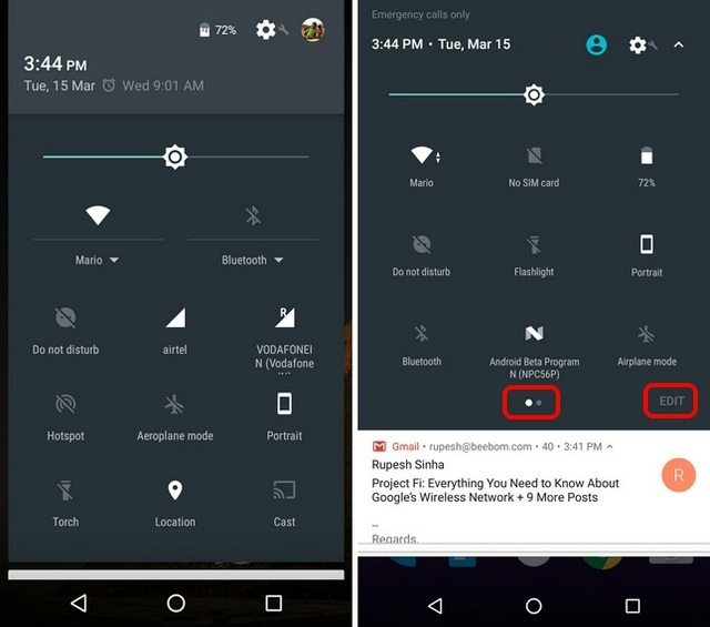 Android N vs Android Marshmallow Quick Settings