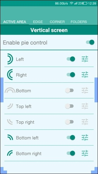 Pie control settings
