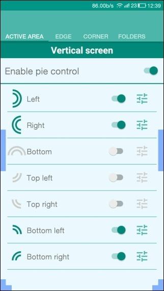Pie control settings
