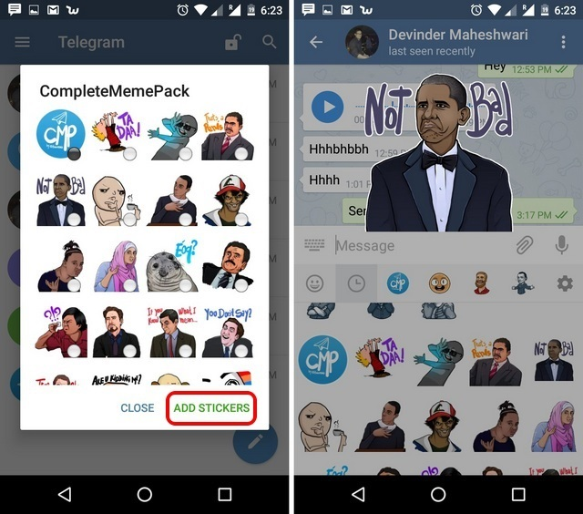 Telegram Messenger App Tricks add stickers
