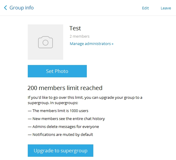Telegram Messenger App Tricks upgrade group to supergroup