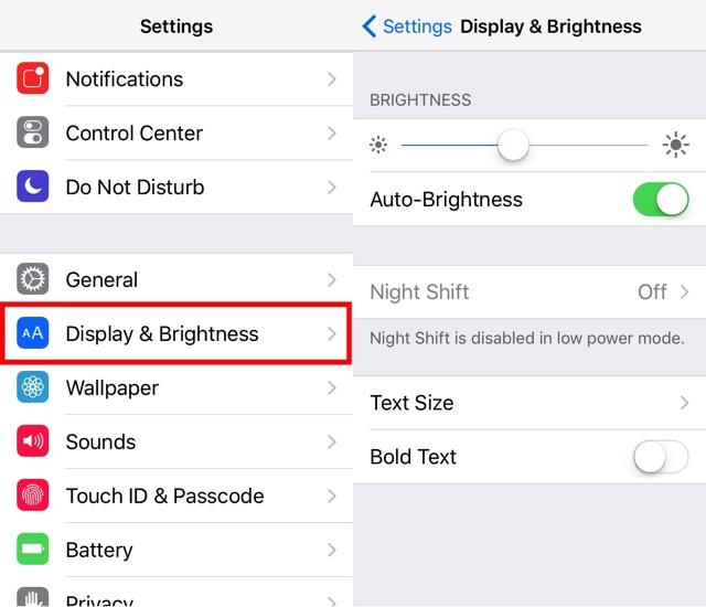 iPhone Battery -bb- Display Brightness