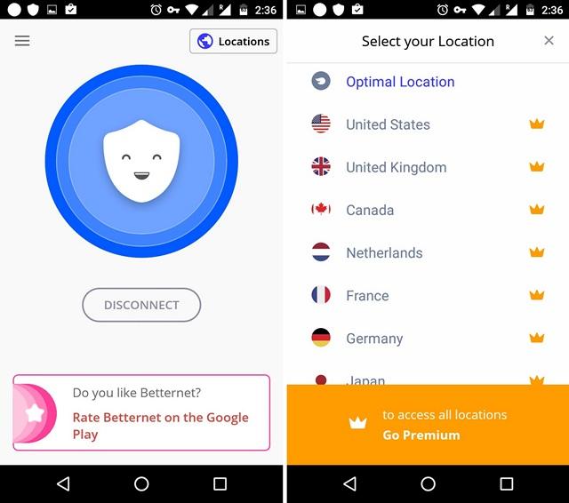 Betternet VPN Android app