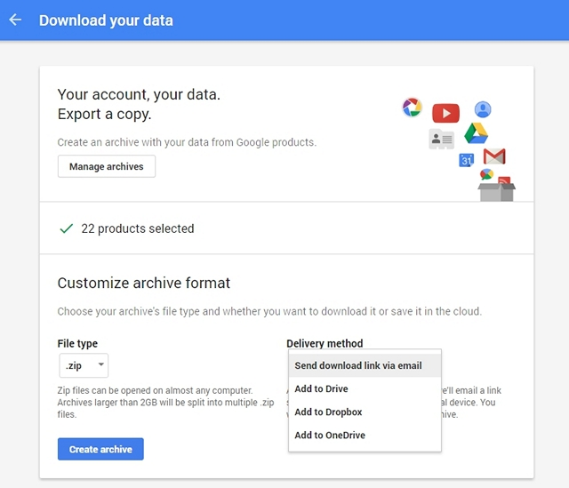 Google Account Data Download file type