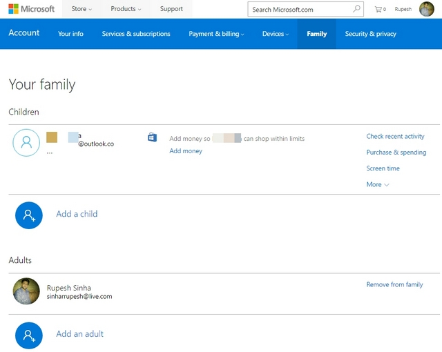 Microsoft Family Page