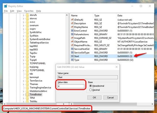 Editor del registro para detener RuntimeBroker