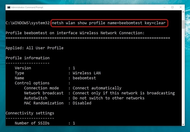 Windows 10 command get WiFi network details