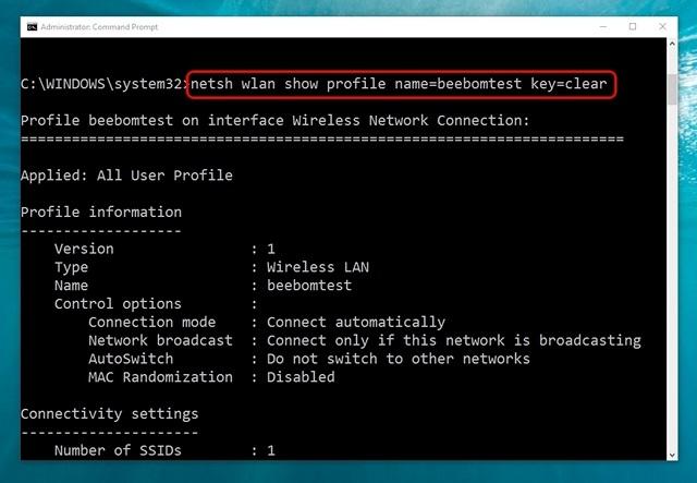 El comando de Windows 10 obtiene detalles de la red WiFi