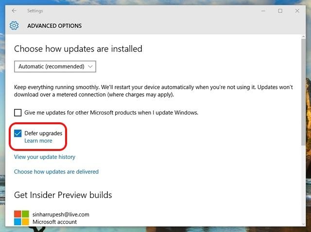 Windows 10 aplaza las actualizaciones