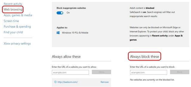 Navegación web de controles parentales de Windows 10
