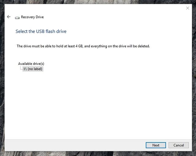 Windows 10 seleccione unidad de recuperación